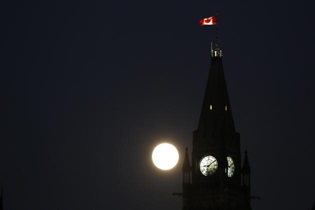 Suppermoon Over Ottawa Ontario Evening